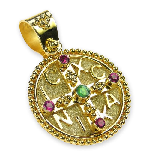 Ruby and Emerald Mother & Child Cross Pendant