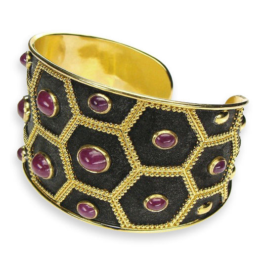 Ruby Nights Black Cuff Bracelet