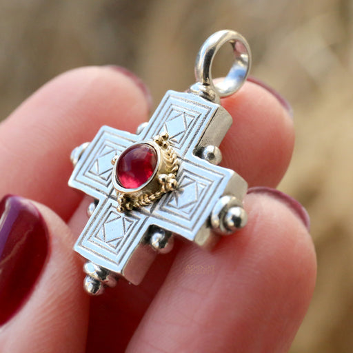 Rustic Silver Greek Cross with Stone