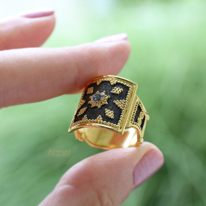 Sapphire Black Gold Thiva Shield Ring