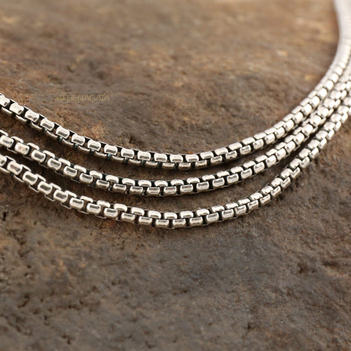 Sterling Silver Triple Box Chain