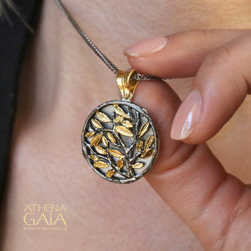 Small Circle Olive Tree Pendant