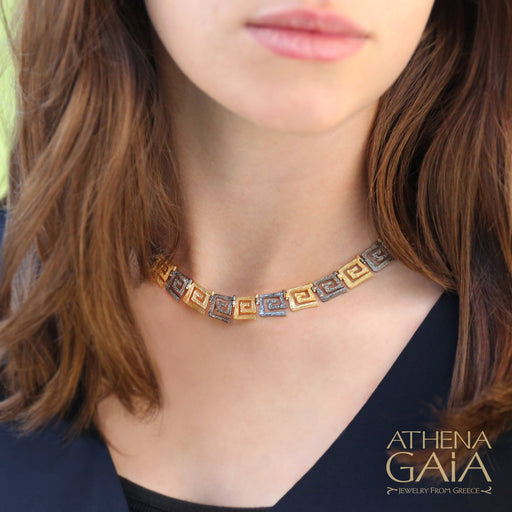 Greek Key Meander Full Necklace