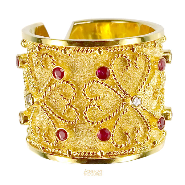 Synergy Flower Diamond and Ruby Split Band Ring