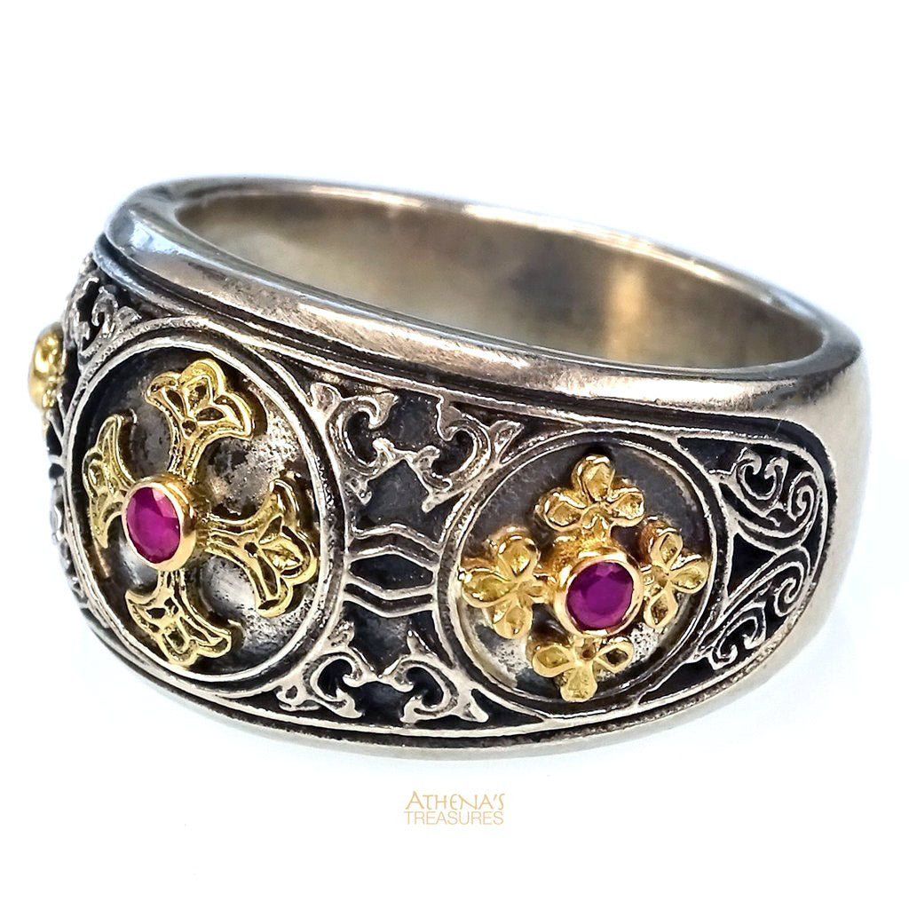 Triple Cross Eastern Ruby Band Ring