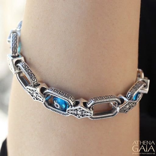 Evil Eye Greek Key Link Bracelet