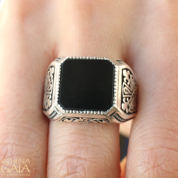 Onyx Etched Silver Signet Ring