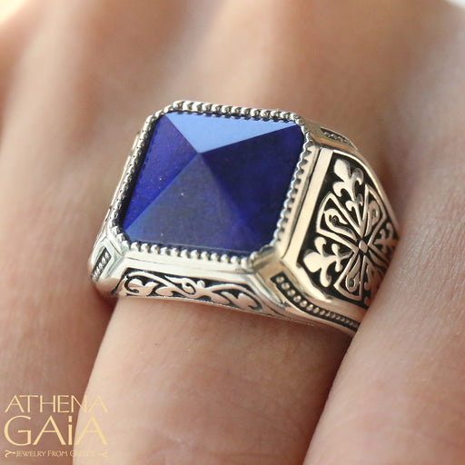 Pyramid Cut Lapis Ring