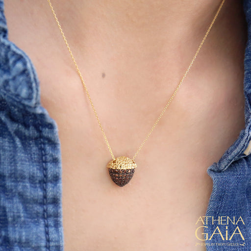 Pave Stoned Acorn Pendant Necklace