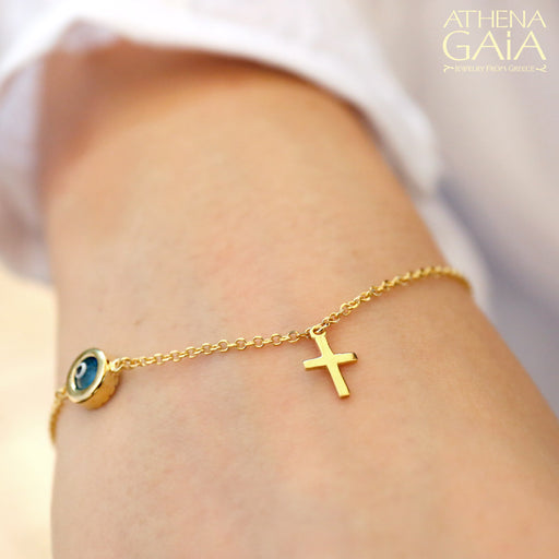 Stoned Mati Evil Eye & Cross Bracelet