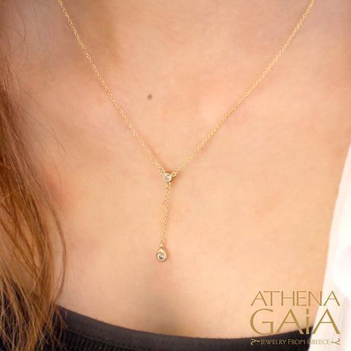 Al'Oro Stone Drop Necklace