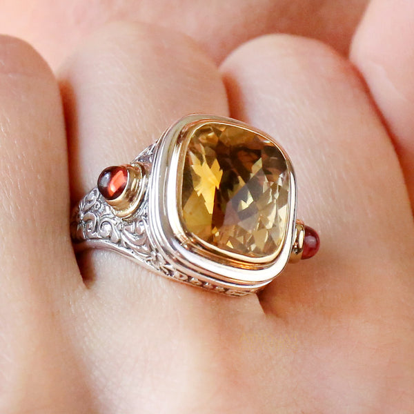 Stone Flanked Sunrise Ring