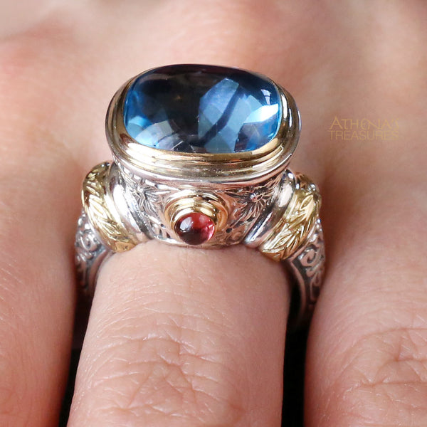 Stone Flanked London Blue Ring