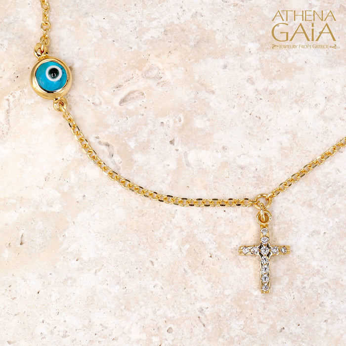 Mati Blue Evil Eye & Cross Necklace