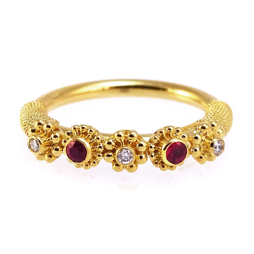Classic Double Ruby Rope Ring