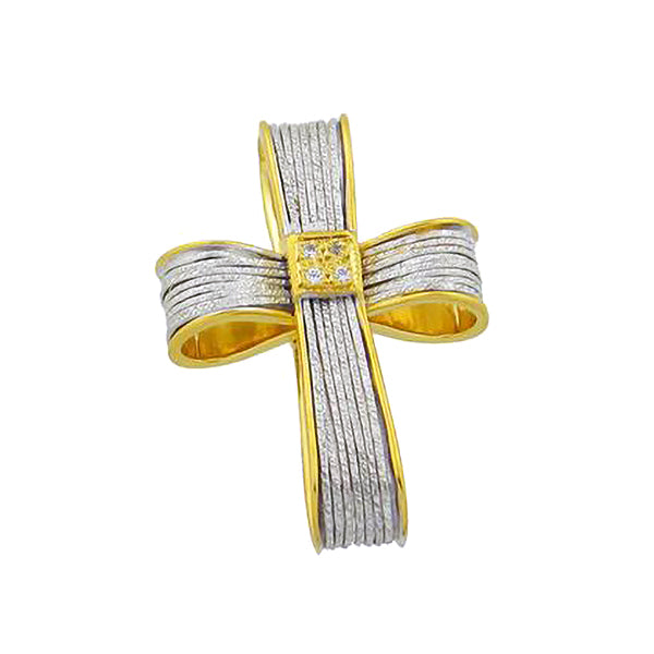 Two-Toned Ribbon Cross