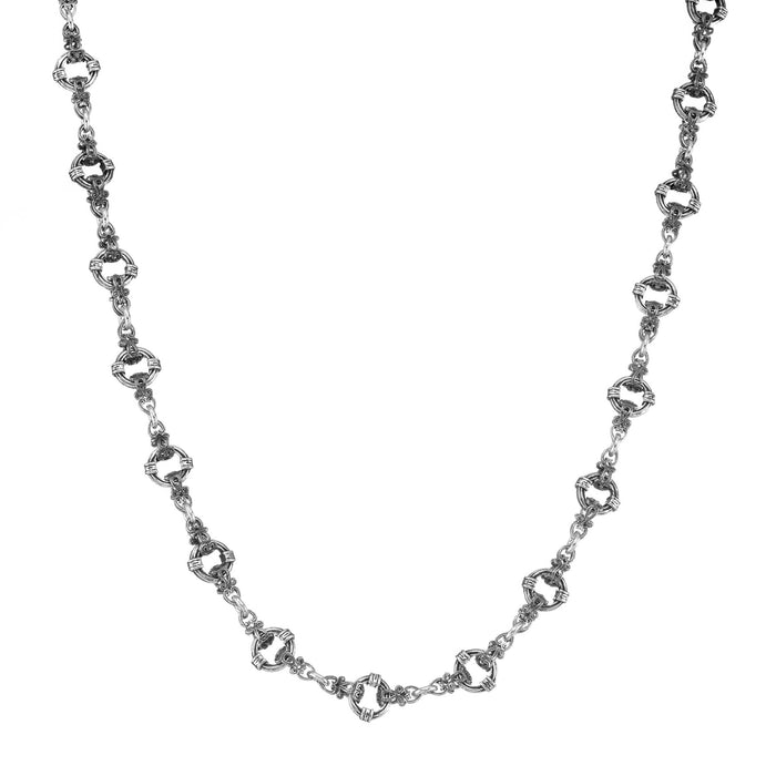 Circle Station Sterling Silver Chain