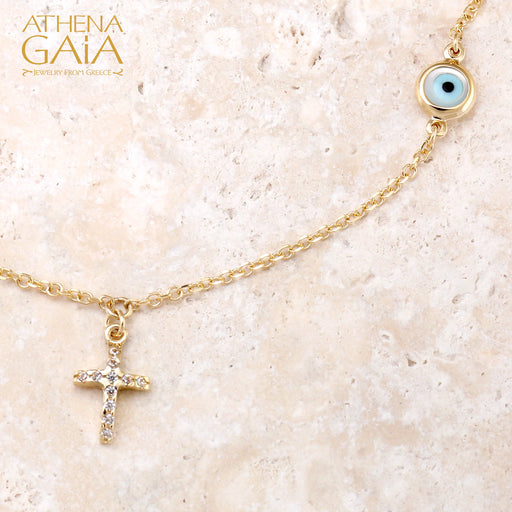 Mati White Evil Eye & Cross Necklace