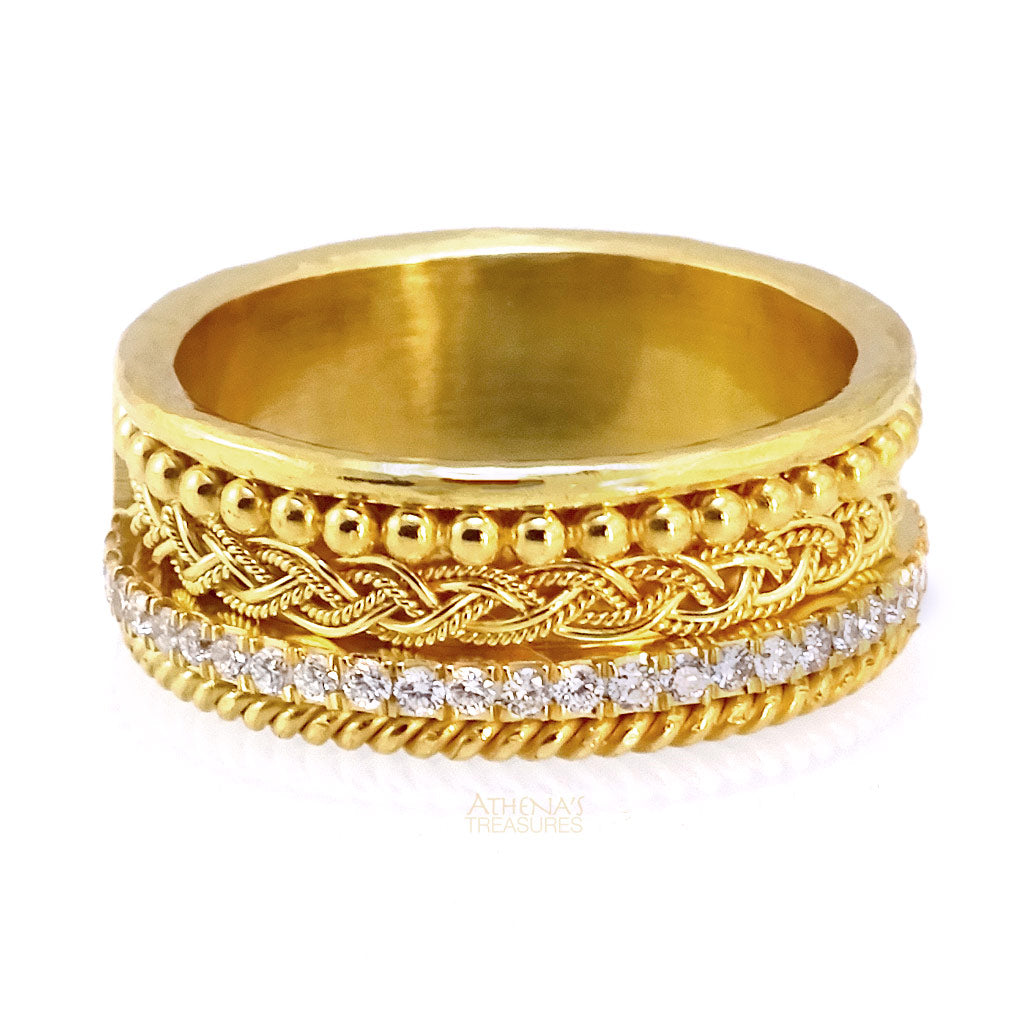 Multi Patterned Stackable Diamond Ring