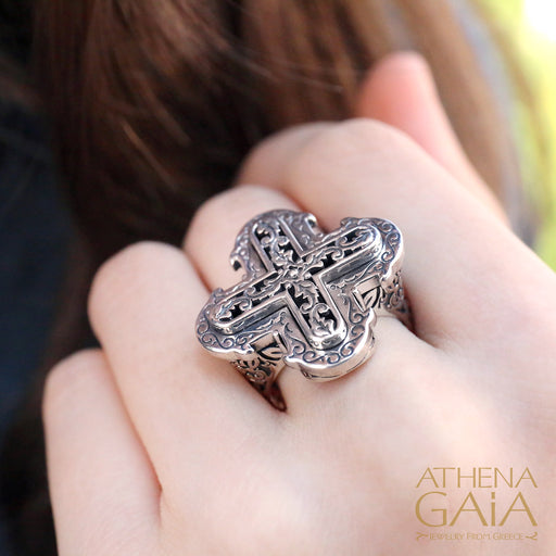 Double Greek Cross Ring