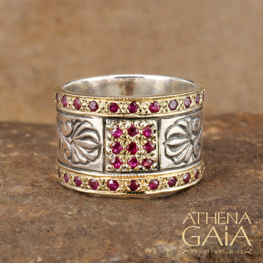 Stone Gold Field Double Band Ring