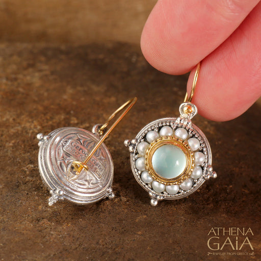 Pearl Fountain Circle Earrings
