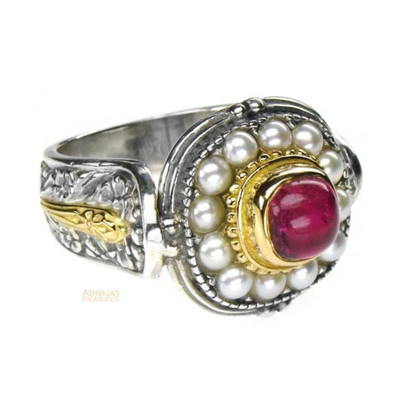 Medieval Pearl Border Ring