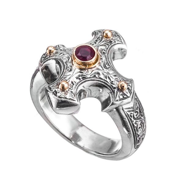 Gerochristo Gold Point Ruby Cross Ring