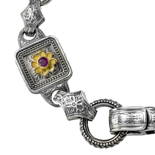 Post Hellenic Ruby Flower Link Bracelet