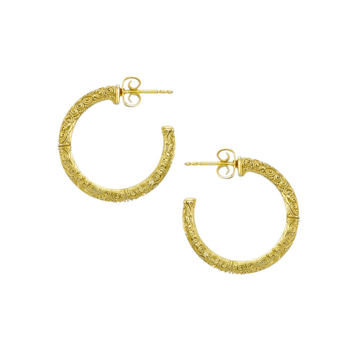 Meadow Breeze Gold Plated Silver Hoop Earrings Small (1.1)