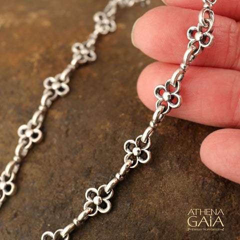 Flowered Sterling Silver Double Loop Chain