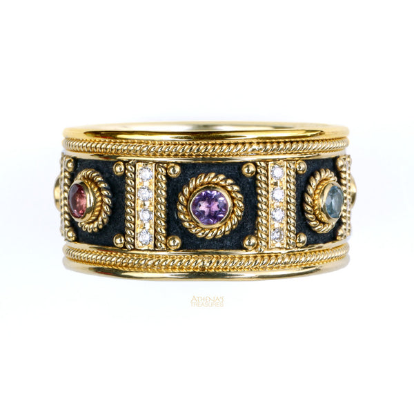 Diamond Columns Black Gold Band Ring (gold base)