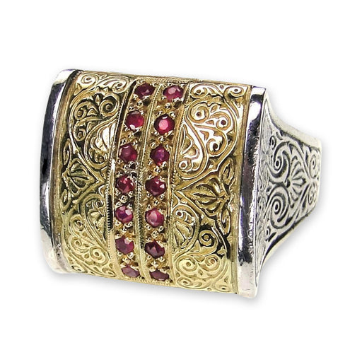 Anthemion Ring with Pave Stones