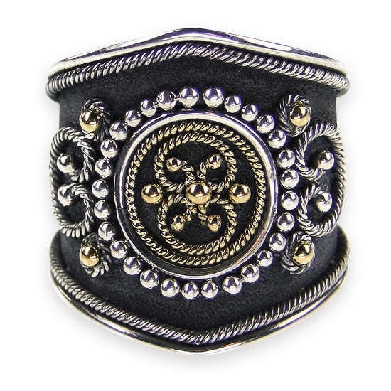 Classical Synergy Black Silver Ring