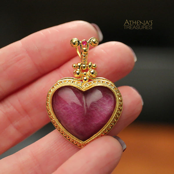 Ruby Heart Greek 18k Gold Pendant Medium Athena S Treasures