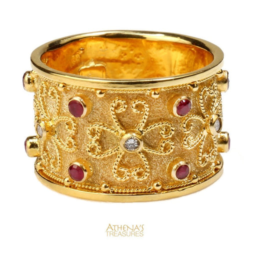 Synergy Flower Diamond and Ruby Medium Ring
