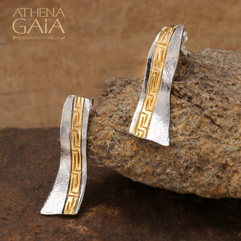 Stilvi Greek Key Wave Earrings