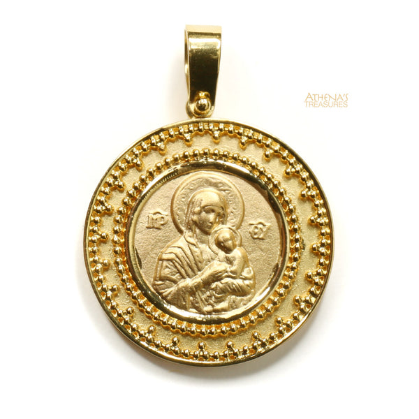 Mother and Child Konstantino Eleni 18k Gold Pendant