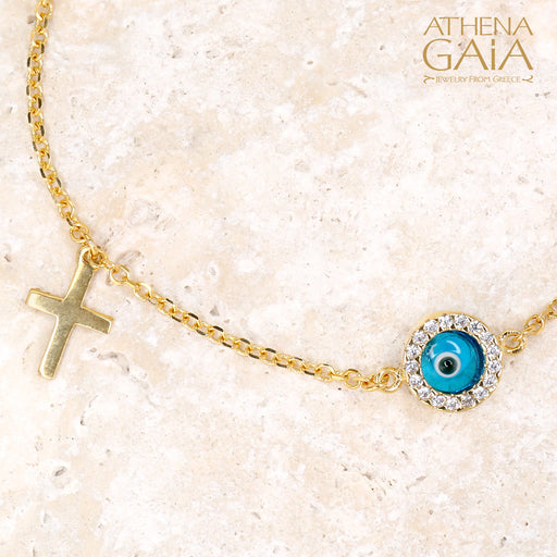 Agapi Mati Evil Eye & Cross Bracelet