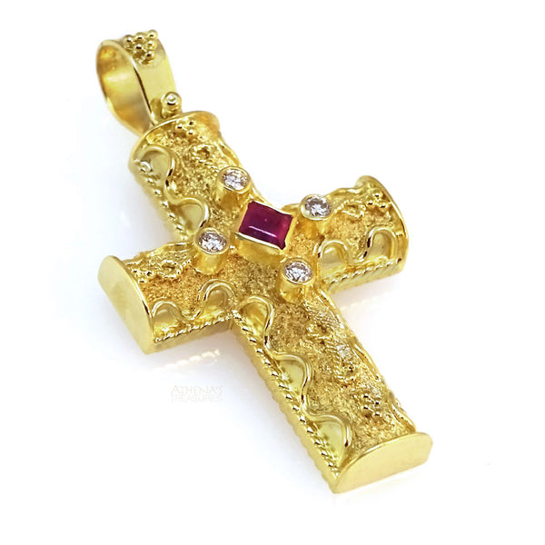 Diamond Flanked Ruby Waveline Cross