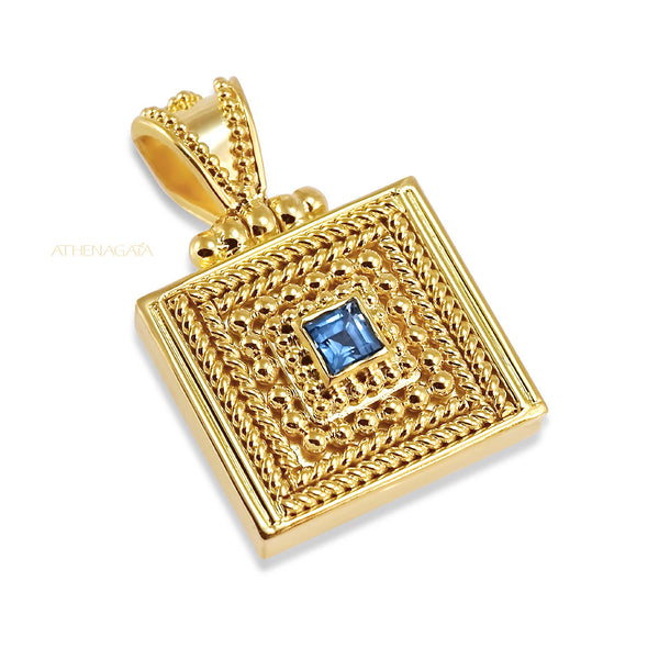 Square Granulation Pendant