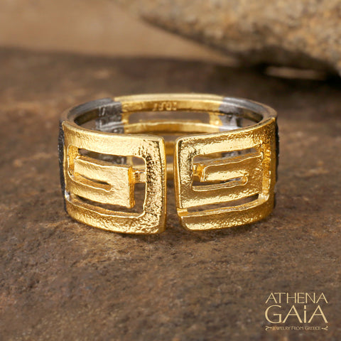 Stilvi Greek Key Bold Meandros Ring