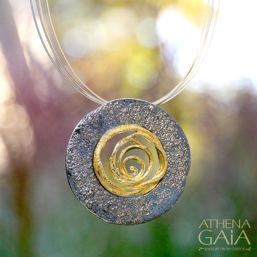 Sun Blast Spiral Pendant and Necklace