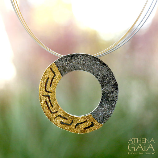 Greek Key Round Pendant and Necklace
