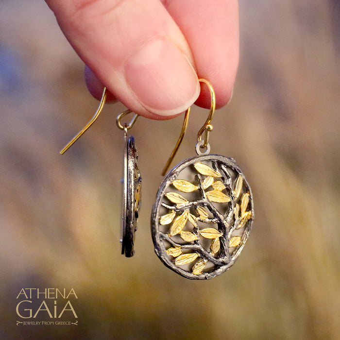 Small Circle Olive Tree Earrings
