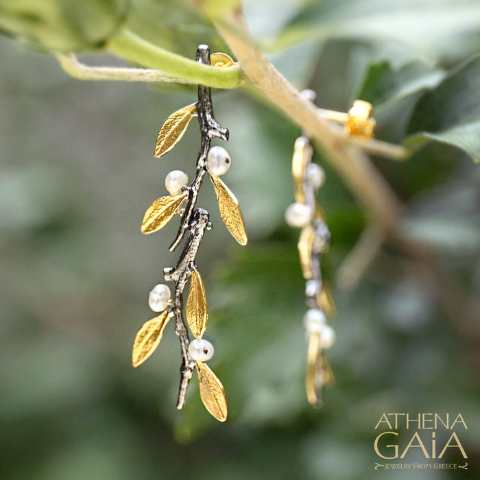 Pearl Olive Long Twig Earrings