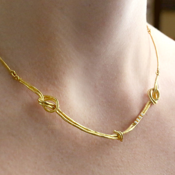 18k Gold Tie the Knot Diamond Necklace