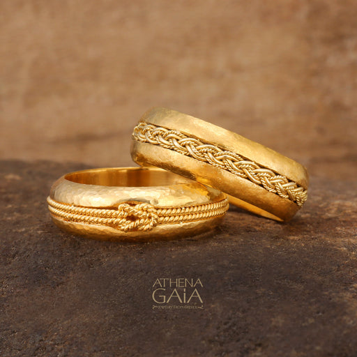 Pure 24k Gold Band Ring with Braided Rope Inset