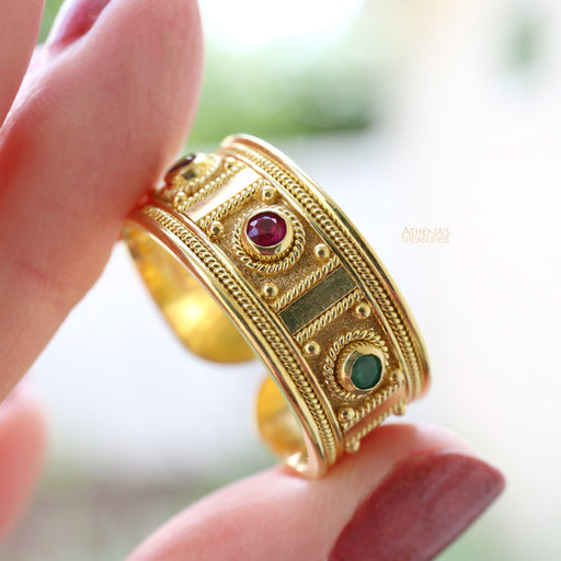 Gold Column Mixed Stone Ring