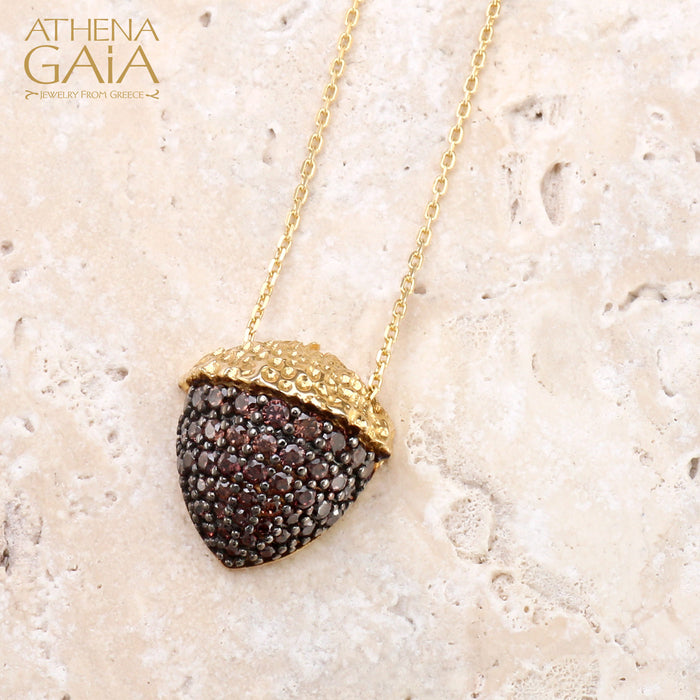 Pave Stoned Acorn Necklace